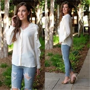 Cream V-Neck Ruffle Sleeve Button down Tunic